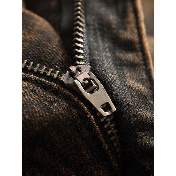 Zip Fly Faded Wash Casual Jeans - COFFEE 32