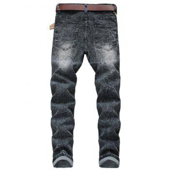 Zip Fly Faded Wash Casual Jeans - LIGHT GRAY 36