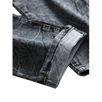 Zip Fly Faded Wash Casual Jeans - LIGHT GRAY 40