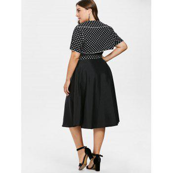 Plus Size Cami Dress with Polka Dot Cape - BLACK 3X