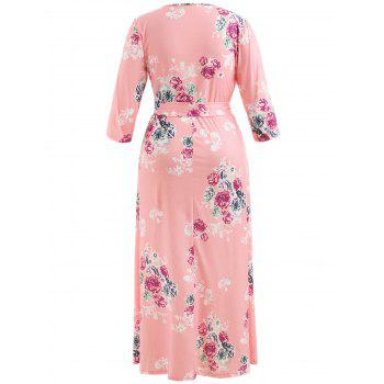 Plus Size V Neck Dress with Belt - LIGHT PINK 2X