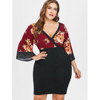 Plus Size Plunging Neck Knee Length Dress - RED WINE 2X