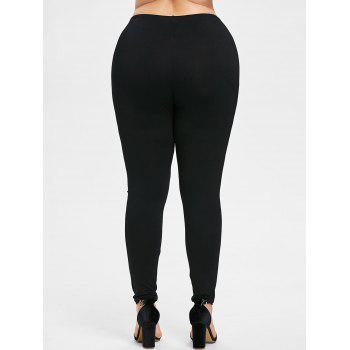 Plus Size Moon Print Leggings - BLACK L