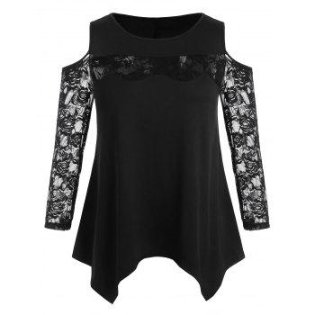 Plus Size Open Shoulder Lace Top - BLACK 1X