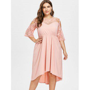 Plus Size Criss Cross Lace Trim Ribbed Dress - LIGHT PINK 1X