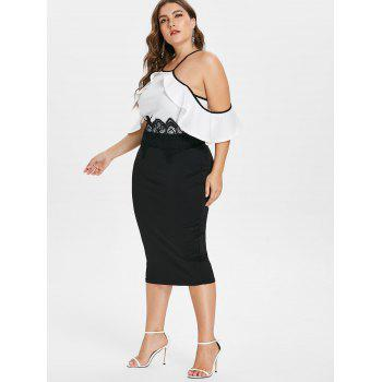 Open Shoulder Ruffle Trim Plus Size Dress - WHITE L