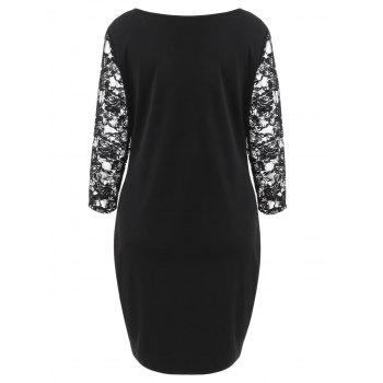 Cut Out Plus Size Bodycon Dress - BLACK 1X
