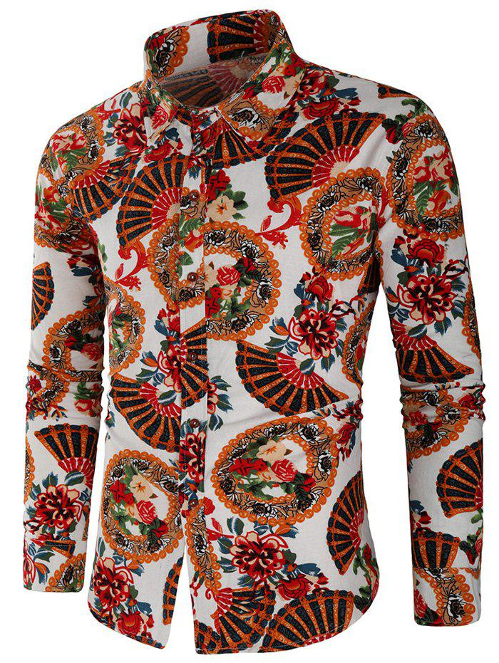 Fan and Flower Print Casual Shirt - multicolor L