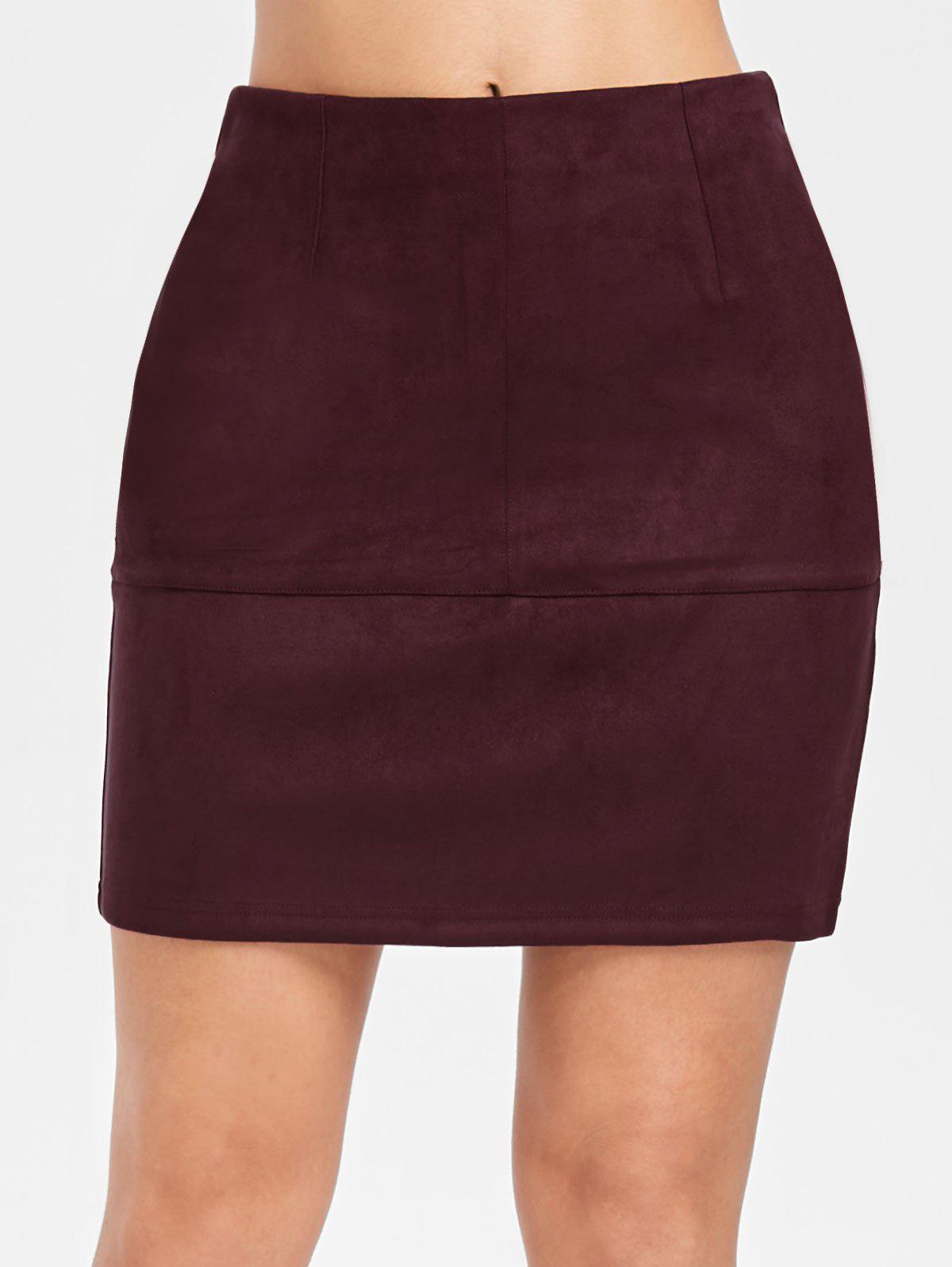 Faux Suede Mini Skirt - RED WINE M