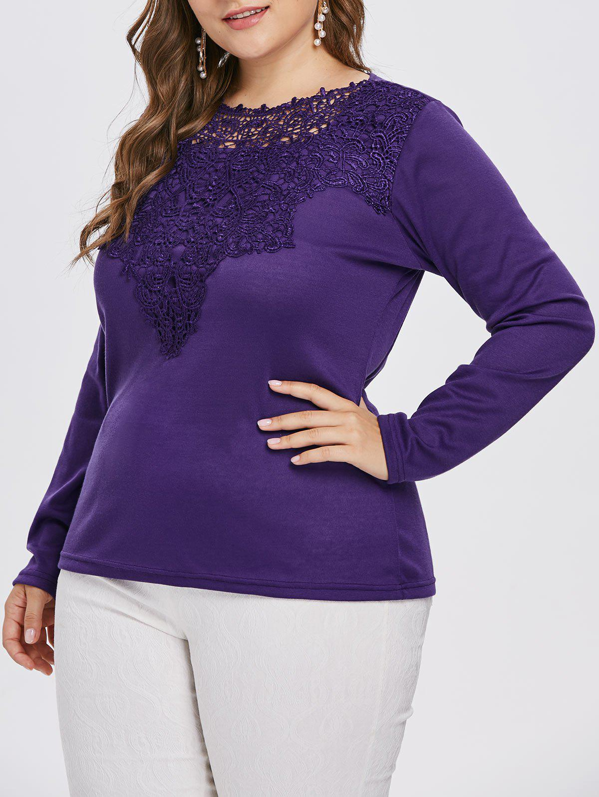 Round Neck Plus Size Lace Applique T-shirt