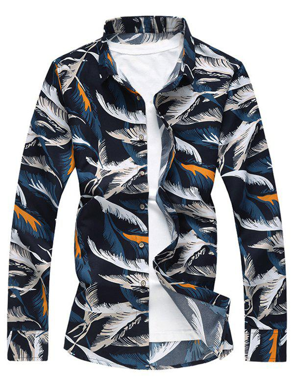 Button Up Feather Print Shirt - multicolor S