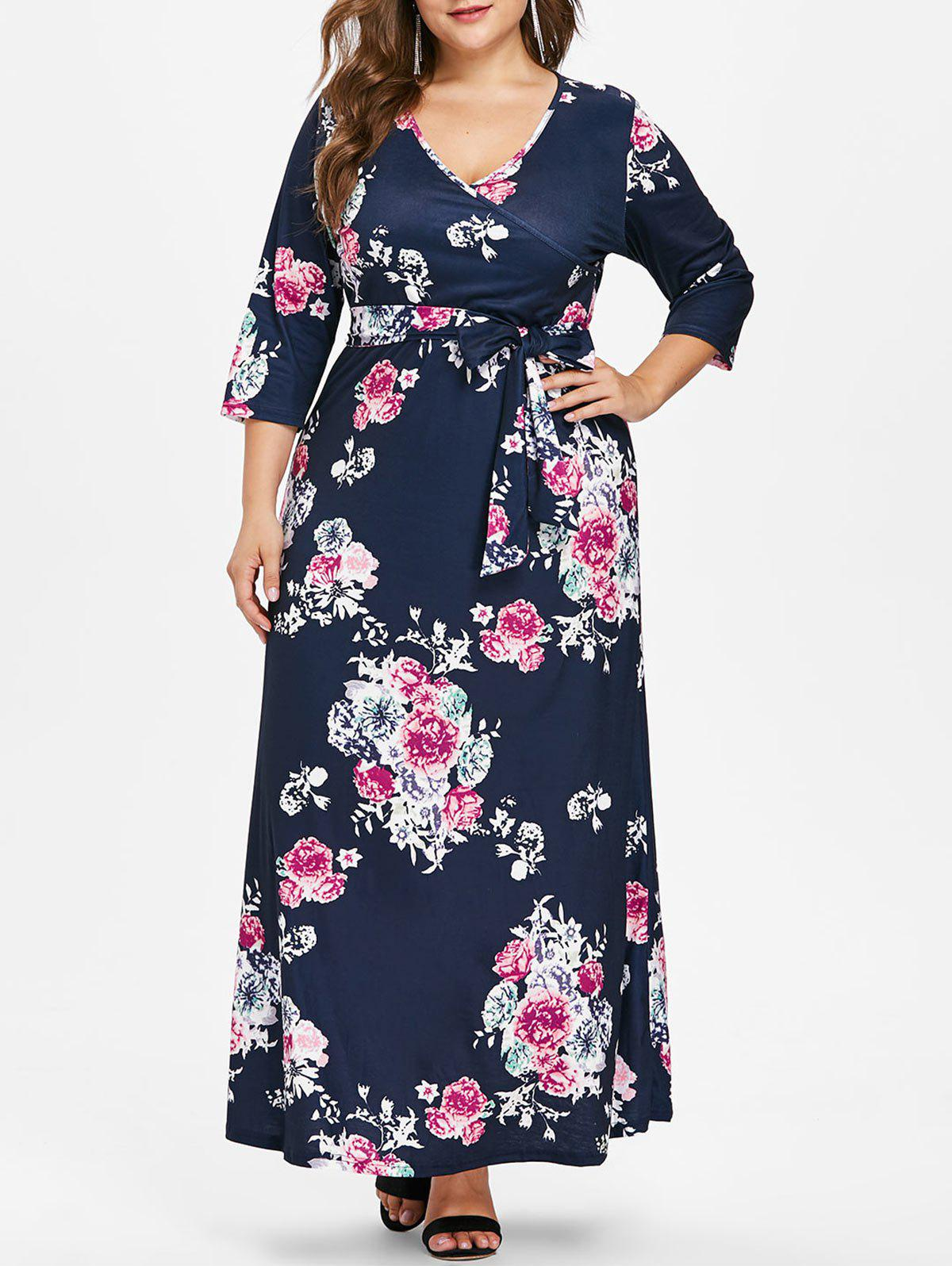 Plus Size V Neck Dress with Belt - CADETBLUE 4X