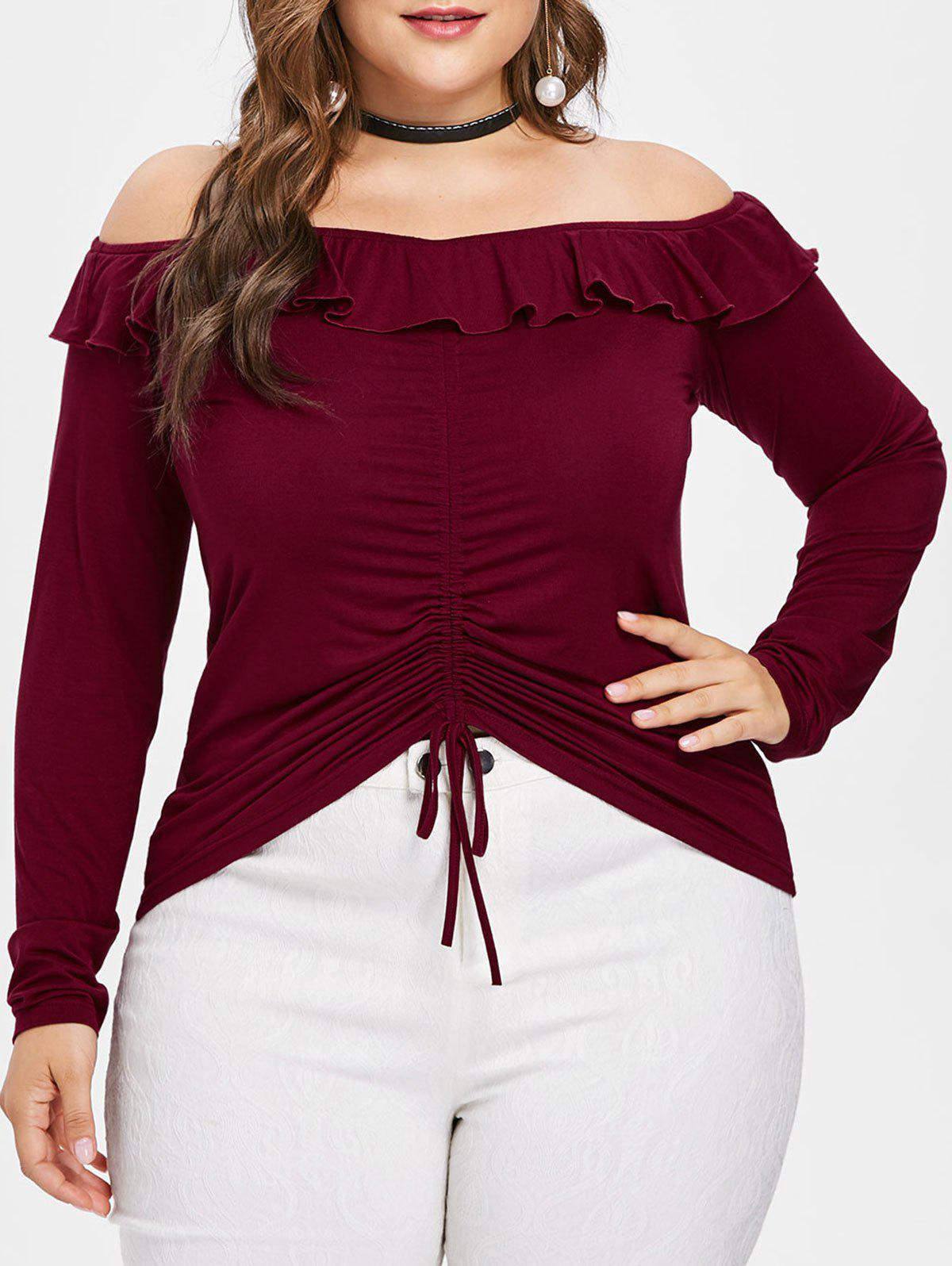 Plus Size Drawstring Ruched Off Shoulder T-shirt - RED WINE 4X