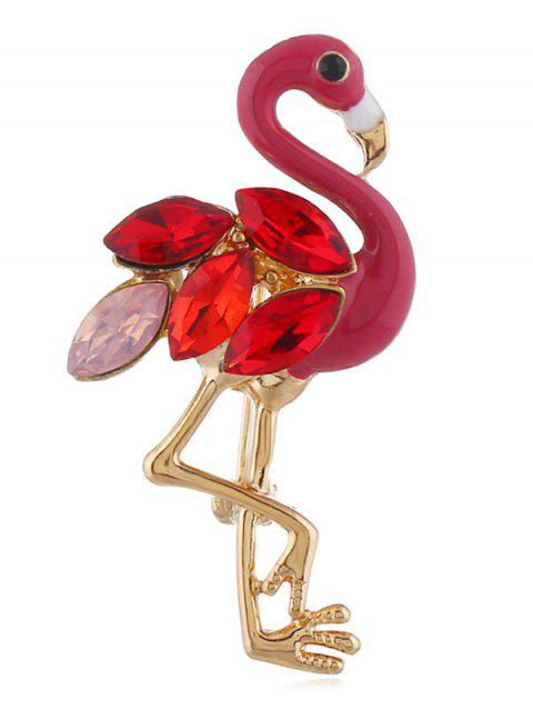 Flamingo Design Rhinestone Brooch - RED