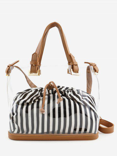 Transparent Striped Print 2 Pieces Handbag Set - BROWN