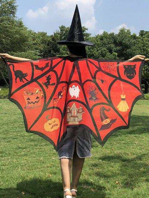 Halloween Patterns Imprimé Adultes Bat Cape - multicolor B