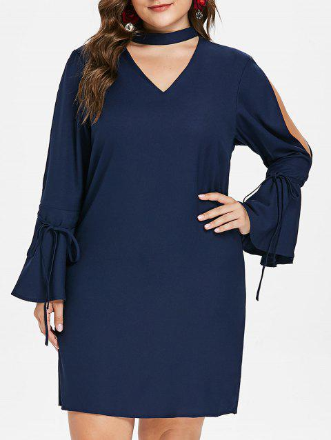 Plus Size Cut Out Flared Sleeve Dress - CADETBLUE 4X