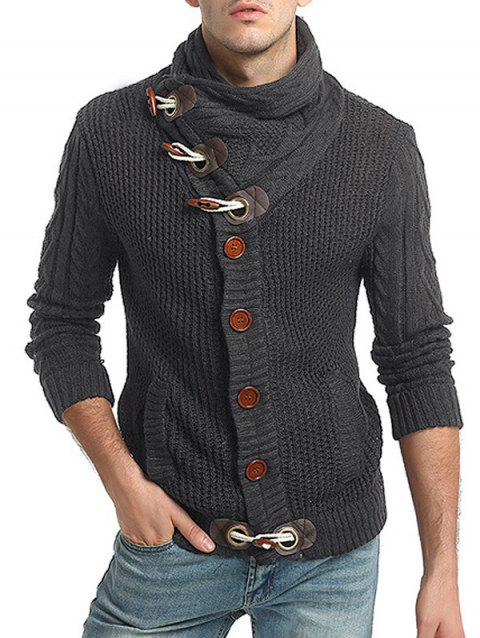 Slash Pocket Horn Button Decorated Sweater - GRAY WOLF L