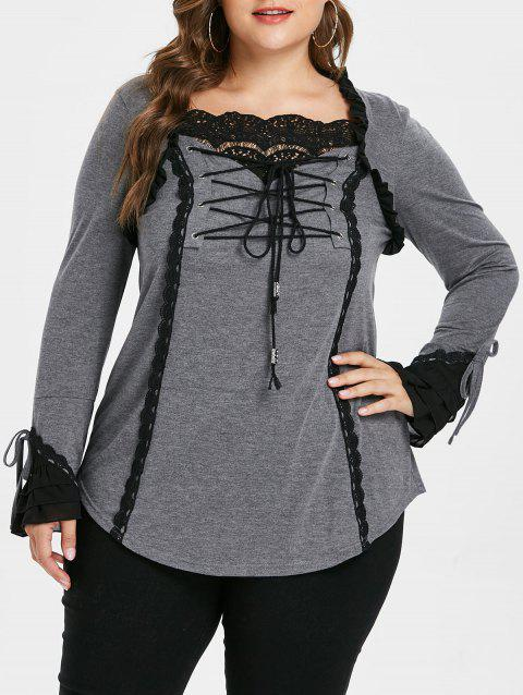Plus Size Lace Panel Color Block Top - DARK GRAY 5X