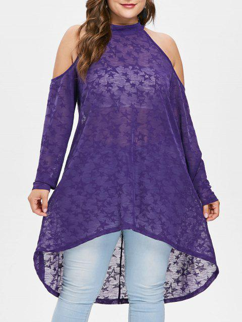 Plus Size Open Shoulder Star Print T-shirt - PURPLE 1X