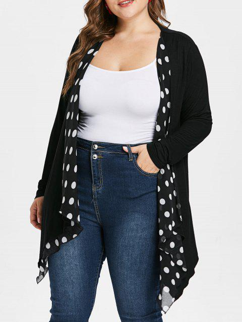 Plus Size Color Block Polka Dot Coat - BLACK 4X