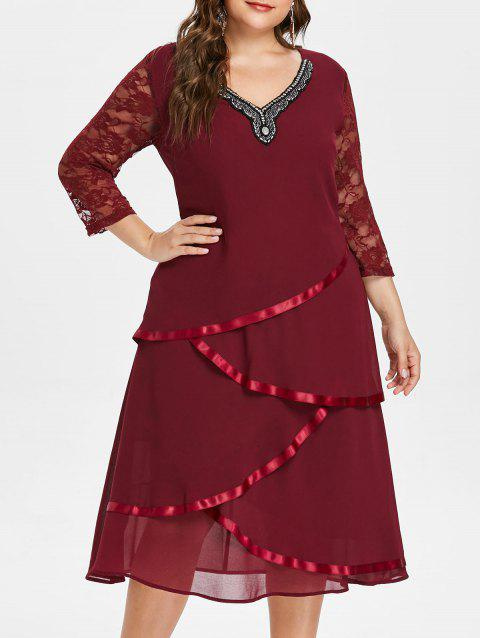 Plus Size V Neck Beaded Tiered Dress - RED WINE L