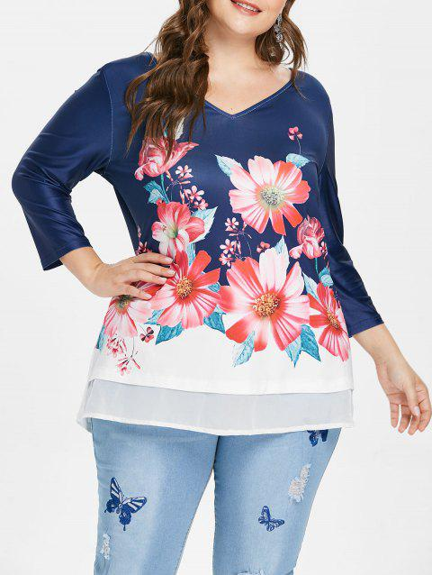 Plus Size Three Quarter Sleeve V Neck T-shirt - DEEP BLUE 3X