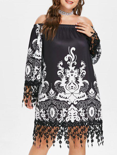 Plus Size Off The Shoulder Shift Dress - BLACK 3X