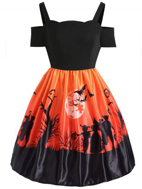 Plus Size Cut Out Halloween Dress - HALLOWEEN ORANGE 1X