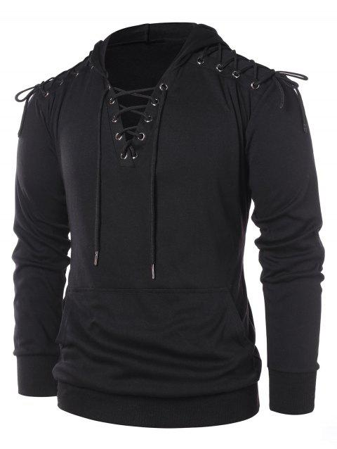 Sweat à Capuche Pull-over à Lacets - Noir M