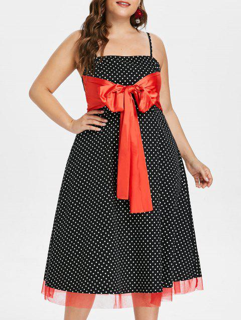 052dc4392a0 17% OFF  2019 Plus Size Front Knot Polka Dot Dress In BLACK 1X ...
