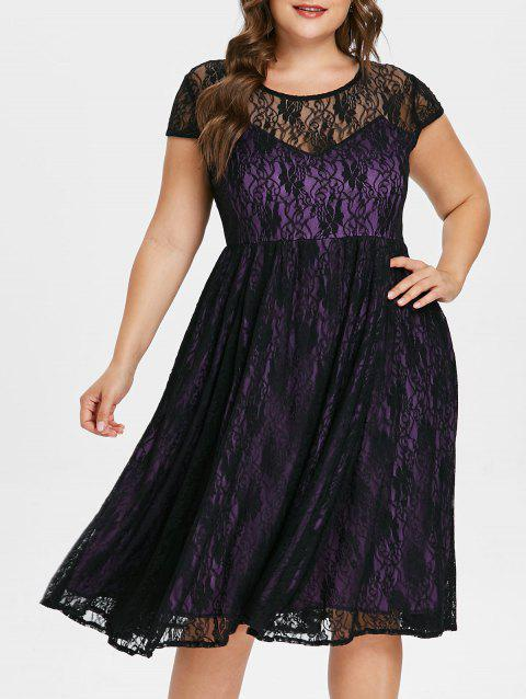 Plus Size Floral Lace Overlay Dress - PURPLE 2X