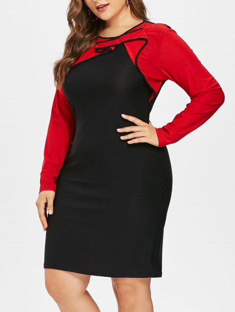 Color Lump Panel Plus Size Bodycon Dress - BLACK 5X