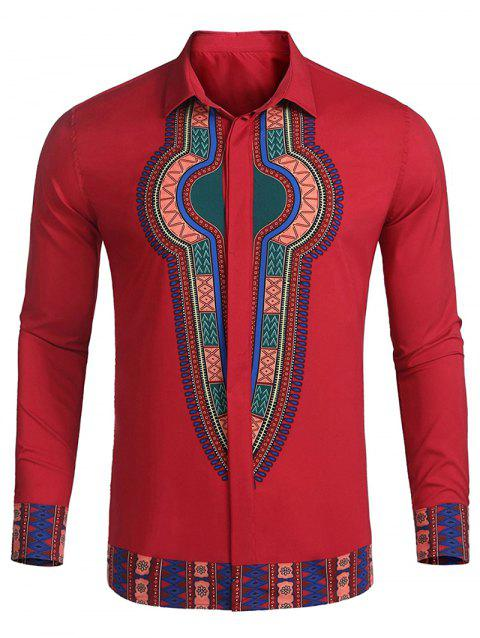 Ethnic Print Hidden Button Placket Shirt - CRANBERRY L