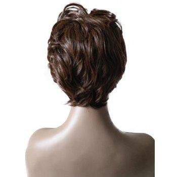 Short Inclined Bang Slightly Curly Layer Synthetic Wig - BROWN