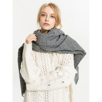 Long Houndstooth Fall Scarf - GRAY ONE SZIE