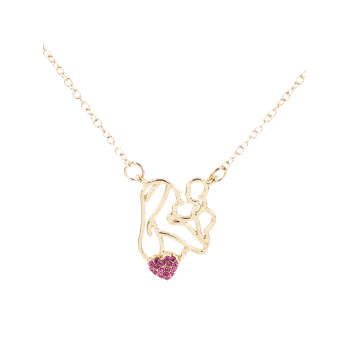 Figure Love Collarbone Necklace - ROSE RED