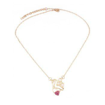 Collier Collarbone Figure Amour - Rouge Rose