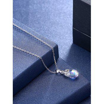 Artificial Crystal Water Drop Pendant Chain Necklace - WHITE