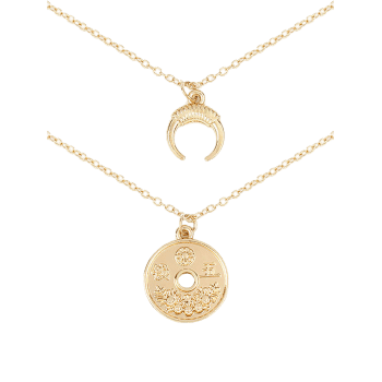 Round Coin Ox Corn Layered Pendant Necklace - GOLD