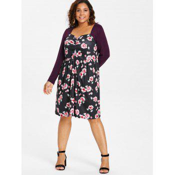 Plus Size Knee Length Floral Pattern Dress - multicolor 3X