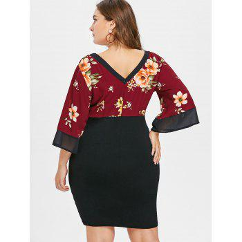 Plus Size Plunging Neck Knee Length Dress - RED WINE 3X