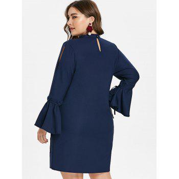 Plus Size Cut Out Flared Sleeve Dress - CADETBLUE 1X