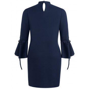 Plus Size Cut Out Flared Sleeve Dress - CADETBLUE 2X