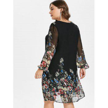 Plus Size Casual Print Shift Dress - BLACK 4X