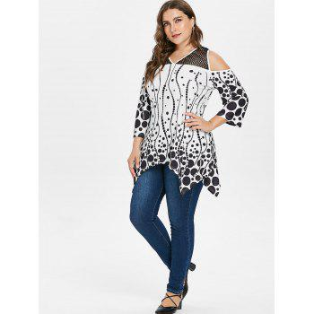 Plus Size Polka Dot Cold Shoulder T-shirt - BLACK 5X