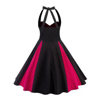 Polka Dot Plus Size Backless A Line Dress - BLACK 4X