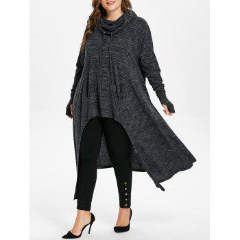 Plus Size Pockets Drawstring Longline Hoodie - BLACK 1X