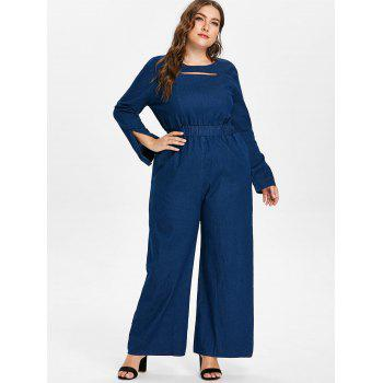 Plus Size Long Sleeve Jeans Jumpsuit - DENIM DARK BLUE L