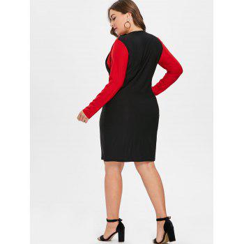 Color Lump Panel Plus Size Bodycon Dress - BLACK 4X